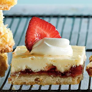 Strawberry-Lemon Shortbread Bars | These triple-layered treats, topped with fresh strawberries and