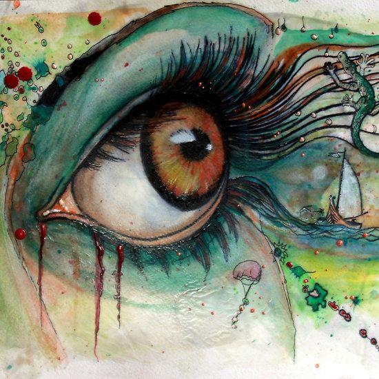 Blink of eyes - 2 Mix Encaustic/ Ink Substrait: paper 32 × 24 cm Medium: waxblocks and wax paste,ink, aquarell Encaustic Tools: Hot air gun, spatula, stylos