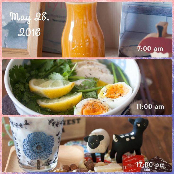 May 28 2016 朝700 コールドプレスジュース にんじんパプリカトマトりんごメロン  昼11:00 こんにゃく麺のフォー風 サラダチキンパクチーゆで玉子レモン  夕17:00 あずきミルク チーズナッツ    今日も控えめごはん フォーのスープはいつもはナンプラーを入れるんだけど今日はトリュフ醤油にしてみました あーこれおいし トリュフの香りがパクチーに負けてないオリーブオイルをちょっぴり垂らすとこれまた最高 トリュフ醤油はいろいろ使えるなぁ    #朝ごはん #breakfast #昼ごはん #lunch #晩ごはん #dinner #糖質制限 #糖質制限ダイエット #糖質オフ #糖質off #炭水化物抜き #mec食 #低糖質 #ローカーボ#lowcarb #ダイエット #diet #公開ダイエット #レコーディングダイエット#糖質セイゲニスト#ダイエット仲間募集  #おうちごはん #instafoods #foodstagram #コールドプレスジュース #coldpressedjuice #あずきミルク #トリュフ醤油 by muserato_fan
