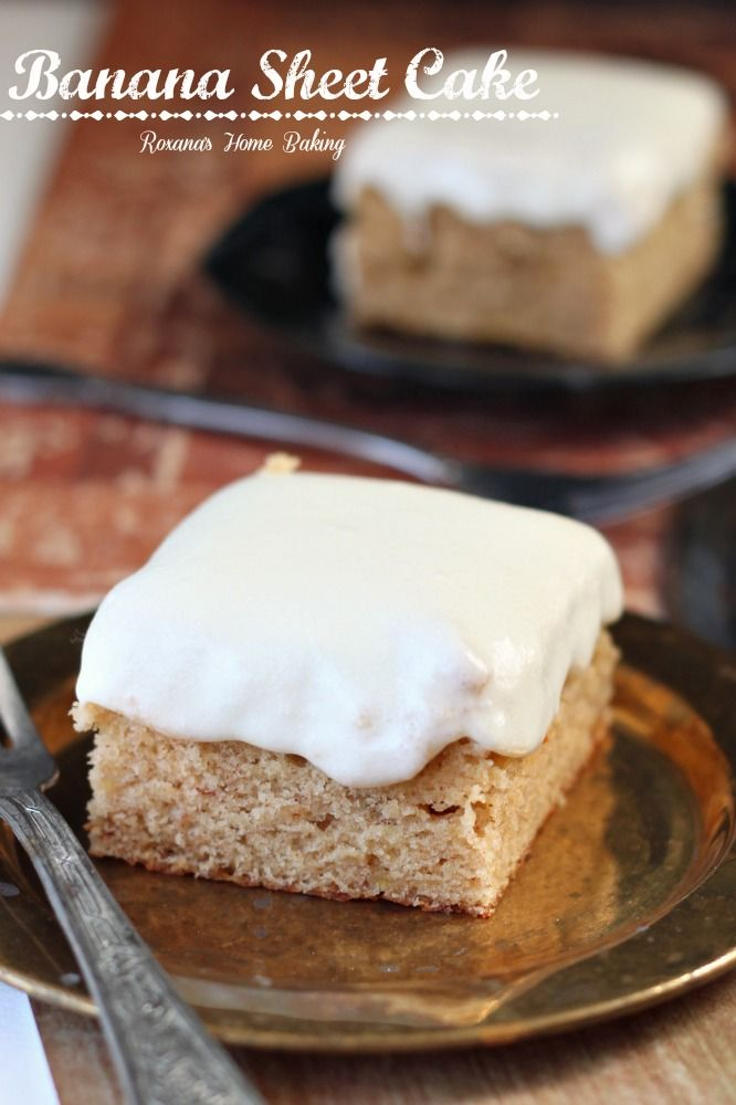 Banana sheet cake with cream cheese frosting from Roxanashomebaking.com Moist and sweet from the mashed bananas with a little tangyness from the cream cheese frosting