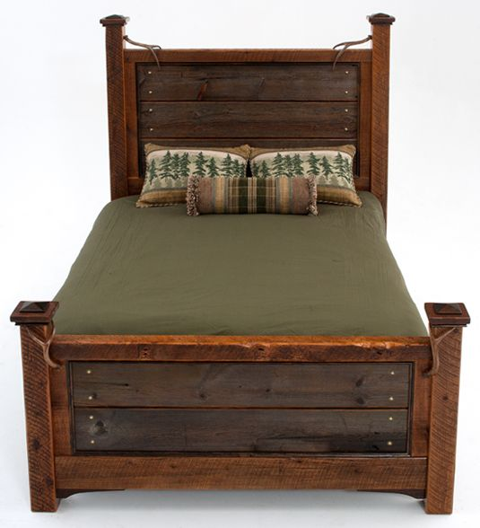 reclaimed barn wood bed with antler accents
