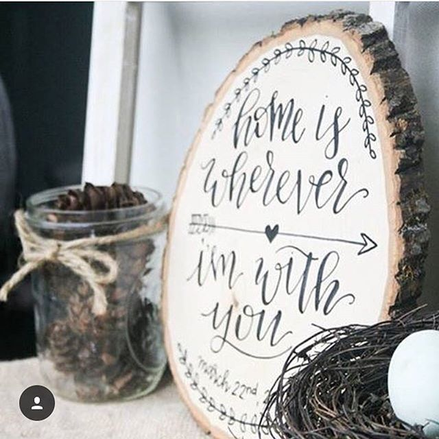 This wood slice is gorgeous, and has so much meaning to the couple who displays it in their home! celebrated 5 years with her hubby rec