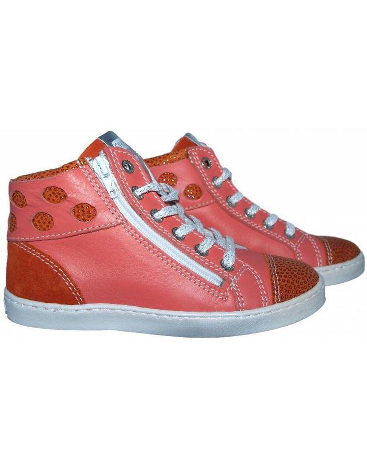 Piedro sneaker - Peach / Oranje met glitters. Sale €49,95