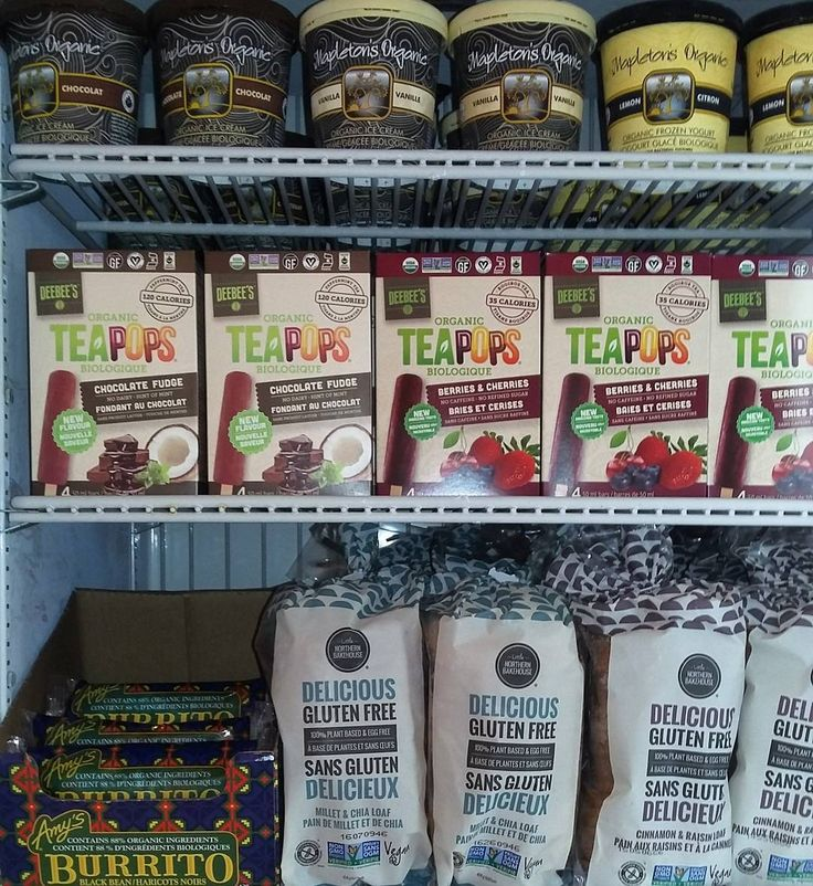 A peak at some of our freezer goodies! Organic tea pops ice cream Amy's burritos and gluten free bread! #teamleeandmarias #supportlocal