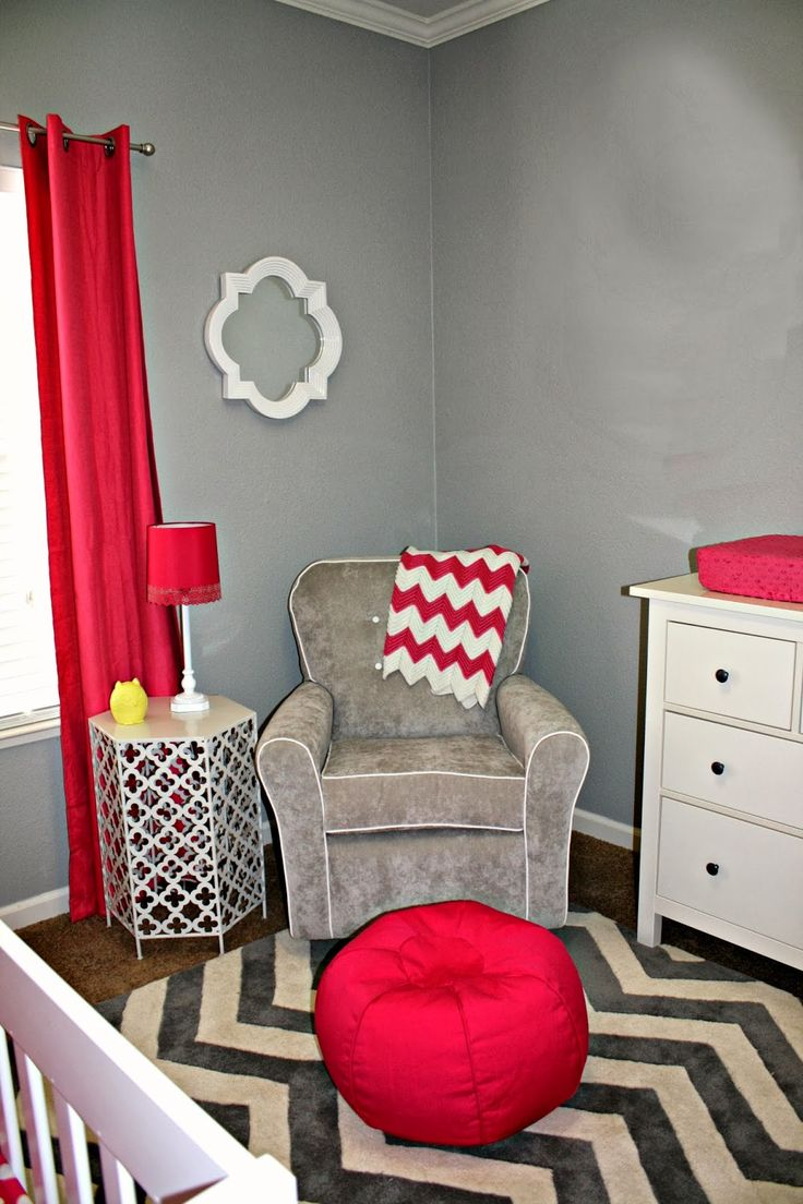 modern gray and pink nursery (I'd swap the pink for red for a gender neutral nursery)