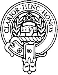 """BuchananCrest.png of which the Masters is a sept. Crest: A hand coupee holding a ducal cap, or duke's cornet, proper, with two laurel branches wreathed surrounding the crest, disposed orleways proper.[4][5] Motto Clarior hinc honos or """"Henceforth forward the honour shall grow ever brighter"""" https://en.wikipedia.org/wiki/Clan_Buchanan"""