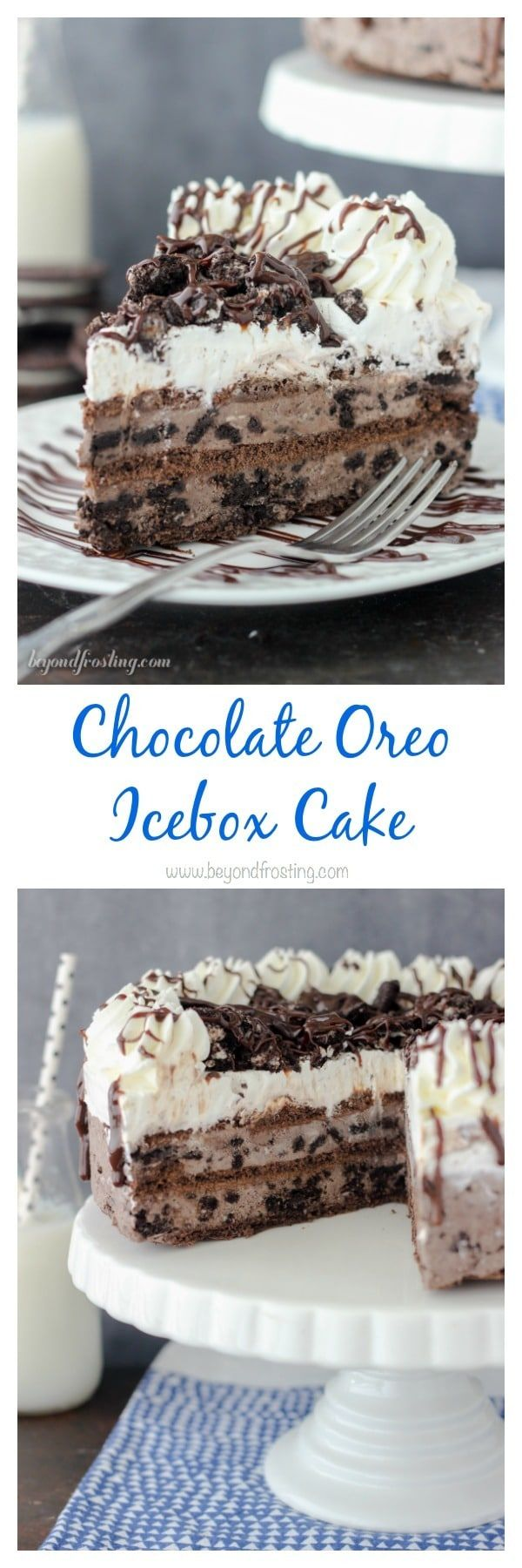 Cut yourself a big slice of this Chocolate Oreo Icebox Cake! The layers of chocolate Oreo mousse, chocolate graham crackers and whipped cream. Be sure to through a handful of Oreos and hot fudge sauce on top. Grab the recipe at beyondfrosting.com