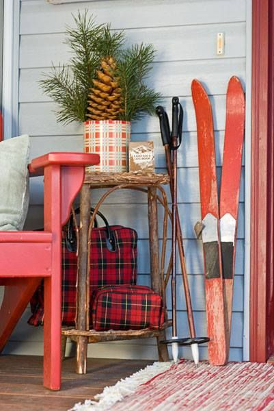 Awesome Holiday Vignette with Vintage Skis, Adirondack Chair, and Plaid!  Farm Chicks Christmas Decor