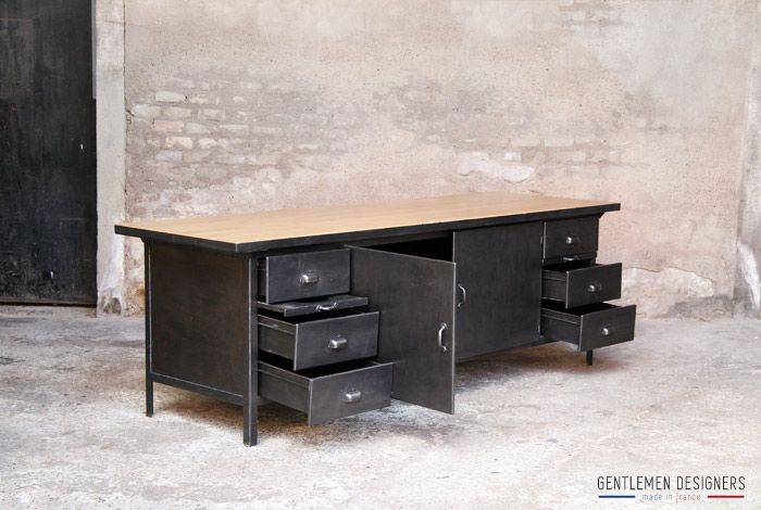 rare comptoir ilot central de cuisine style indus m tal ch ne. Black Bedroom Furniture Sets. Home Design Ideas