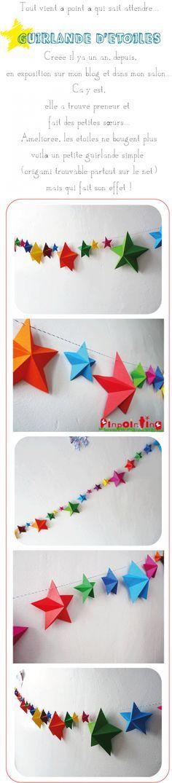 origami, guirlande, étoiles, stars, couleur , papier, pinpointing
