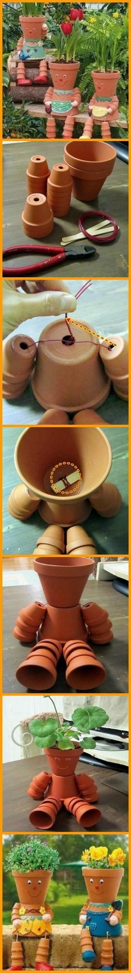 Get the kids interested in gardening by making this DIY clay pot flower people! http://theownerbuildernetwork.co/vs03: