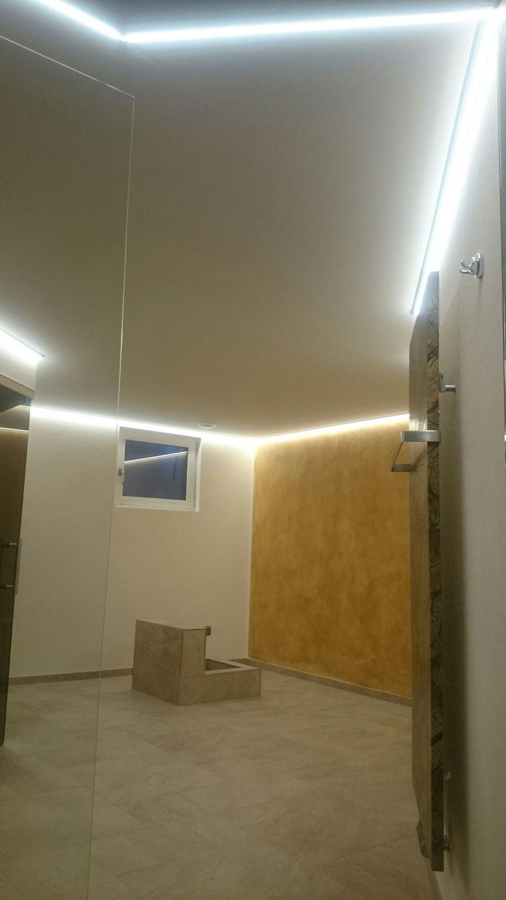 Awesome CLIPSO Gewebe Spanndecke Akustik Spanndecke Silber Grau mit umlaufender LED Randbeleuchtung
