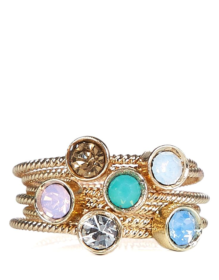 6 x Katy Opals Stacking Ring Set