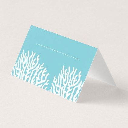 Coastal White Sea Coral & Cyan Blue Name Place Card - wedding gifts marriage love couples