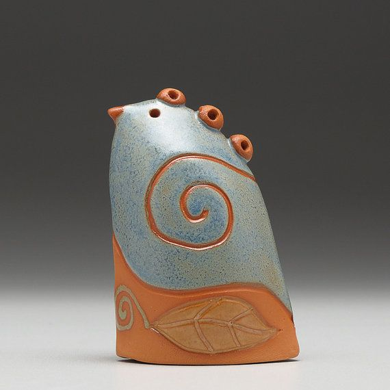 Ceramic bird handmade home decorearth colors gift por DavisVachon, $38.00