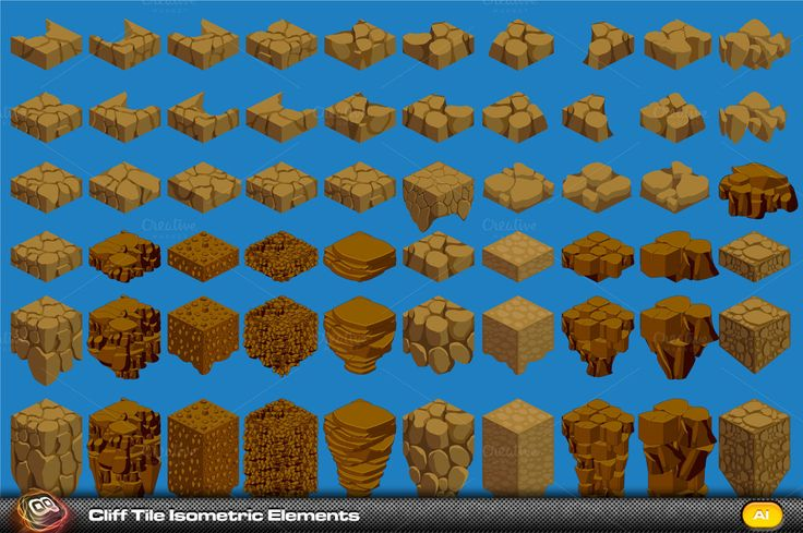 Cliff Elements Isometric Tiles by quicky on Creative Market