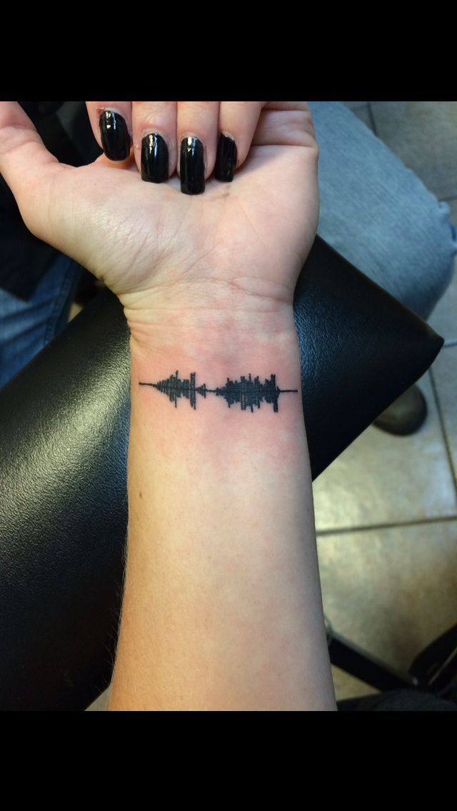 "Soundwave tattoo of my dad saying ""what you do now affects you later"""