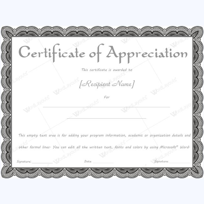 26 best Certificate of Appreciation Templates images on Pinterest - Award Certificate Template Word