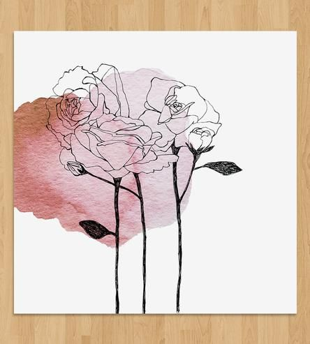 Featuring a botanical depiction in pen and ink, this flower art print gives the sense of the petals blooming due to a splotch of gouache paint. Drawn by hand, the chrysanthemums are outlined in stark black over a colorful watercolor spot. The original mixed media work is reproduced on white paper, ready to hang.