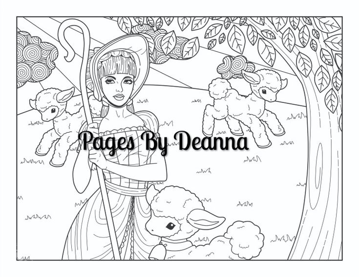 Little Bo Peep Coloring Page | Coloring pages, Little bo ...