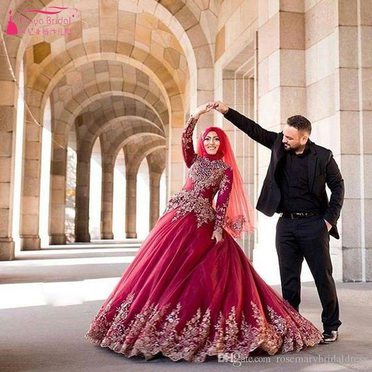 Red Muslim Vestido De Noiva Princesa Luxo Long Sleeve Wedding Dresses Robe Mariee Lace Appliques