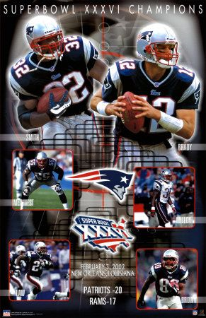 New England Patriots (Super Bowl XXXVI win against the Rams. Ahhh...the memories!)