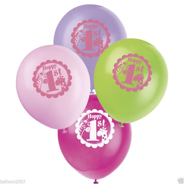 """8 x1st first #birthday girls pink party supplies safari latex #helium 12"""" #balloo,  View more on the LINK: http://www.zeppy.io/product/gb/2/221741810802/"""