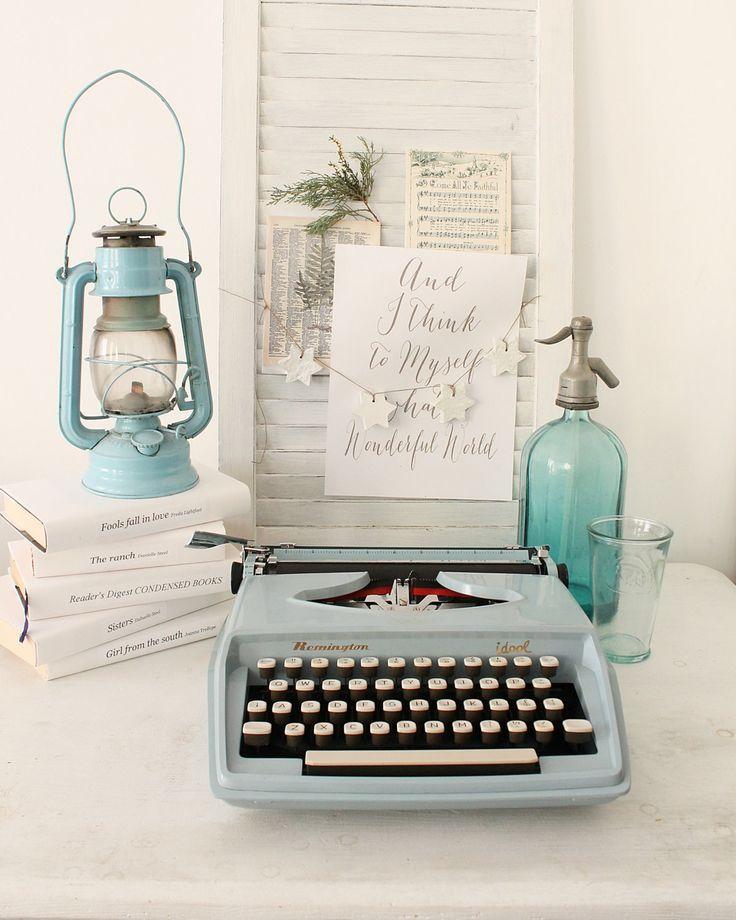 Blue Remington Idol rare portable working typewriter with hard case by Cottoni on Etsy