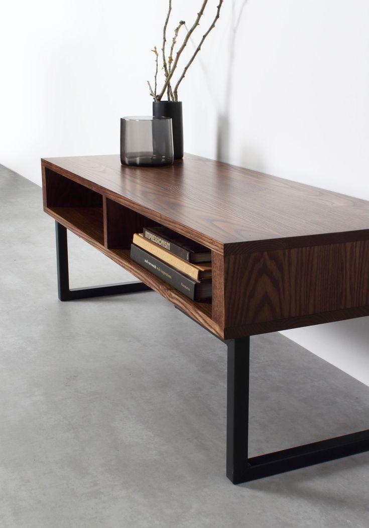 Darwen solid wood coffee table on minimalist square legs