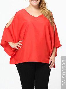 Fashionmia plus size v neck tops - Fashionmia.com