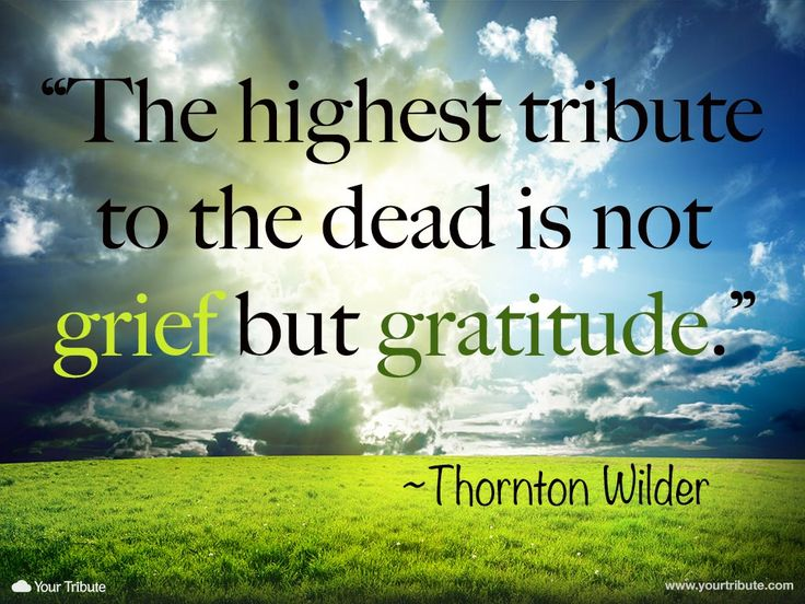 Grief quote. Thornton Wilder: The highest tribute to the dead is not grief but gratitude.