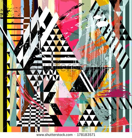 abstract background, with strokes, splashes, stripes and triangles - stock vector