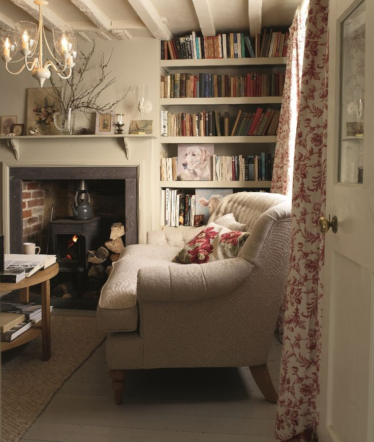English arm sofa, traditional log burner make this country living room look so comfy and cosy.  If you like this pin, why not head on over to get similar inspiration and join our FREE home design resource library at http://www.TheHomeDesignSchool.com/signup?