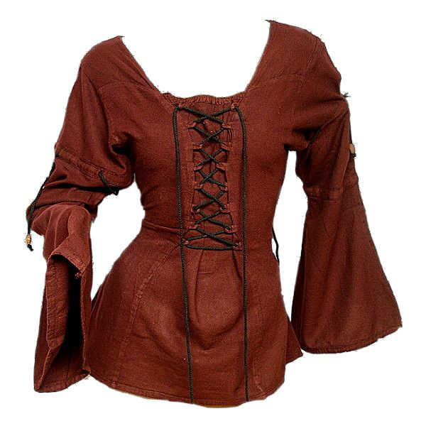 Medieval Blouse ❤ liked on Polyvore featuring tops, blouses, medieval, shirts, brown shirts, shirt top, shirt blouse, brown top and brown blouse