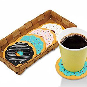 Amazon.com: 4Pcs Round Donut Coasters Drink Bottle Beer Beverage Cup Mats cup mat silicone coaster: Home & Kitchen