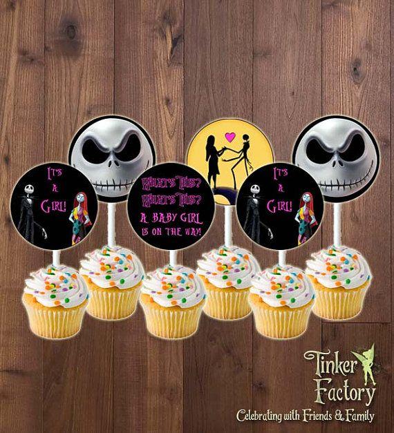 The Nightmare Before Christmas Baby Shower Party Cupcake Toppers   Baby  Girl   Digital File  Printable  Jack Skellington Itu0027s A Girl Cupcake