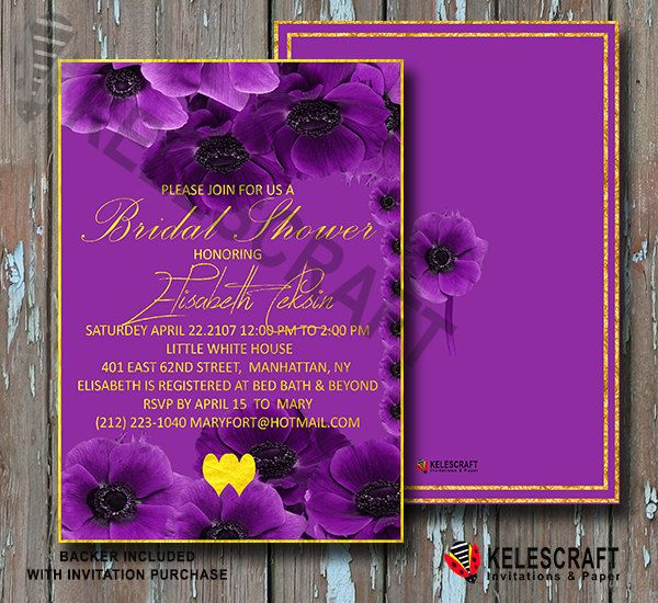 Purple Floral Bridal Shower Invitation  Gold Heart  Floral Bridal Shower Invite Bridesmaid Shower Invition  Bride Announcement DiY Printable by KelesCraft on Etsy