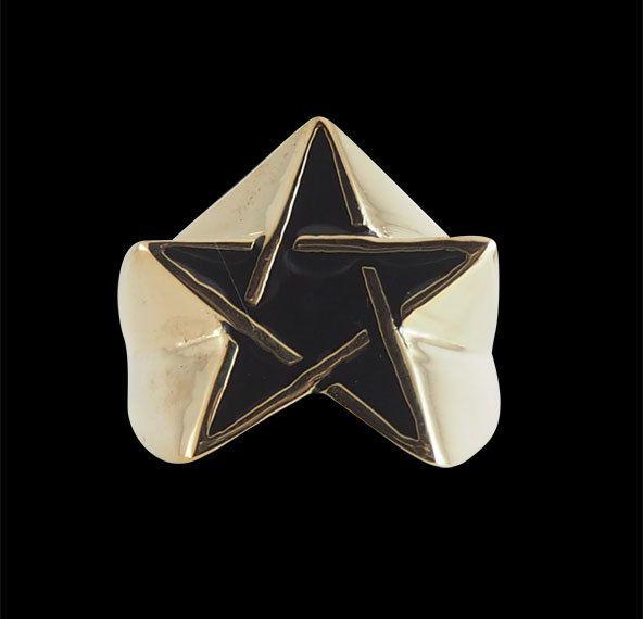 Bronze Star Pentagram Ring with Enamel from Jax Biker Jewellery by DaWanda.com
