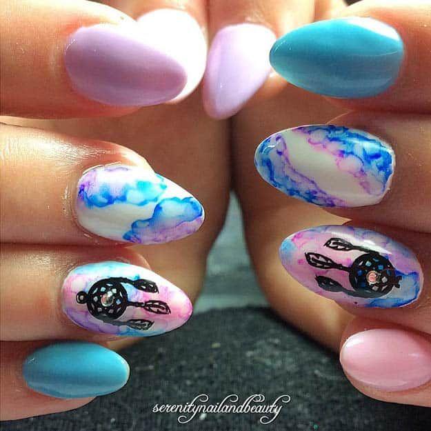 Dreamcatcher Sharpie Nails | Sharpie Nail Art Designs You'll Surely Love - The 25+ Best Sharpie Nails Ideas On Pinterest Sharpie Nail Art