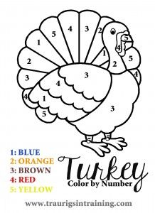 "A fun and simple ""Color by Number"" page for Thanksgiving and other fun and FREE Thanksgiving coloring pages"