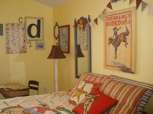 Vintage Western Cowboy Room Love The Picture Above Bed