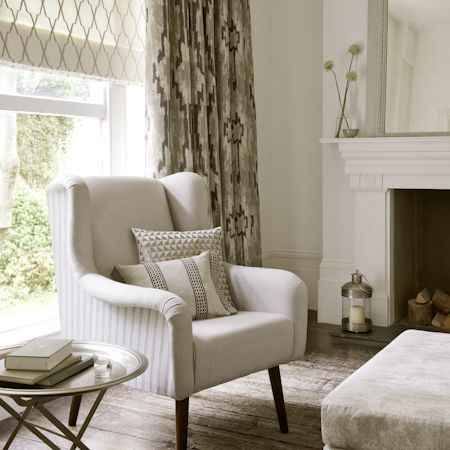 Global Luxe is sophisticated and intriguing mix of woven patterns, textured plains, embroideries and embossed satins in cool, laid back shades of Ivory, Sand and Pebble.