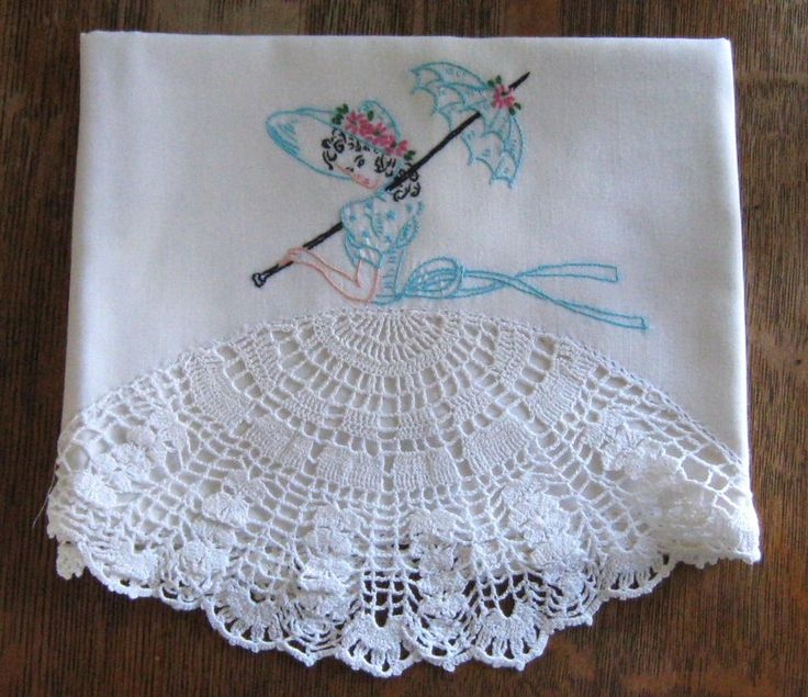 LOVELY Vintage Orphan Pillow Case Hand Embroidered Crocheted SOUTHERN BELLE