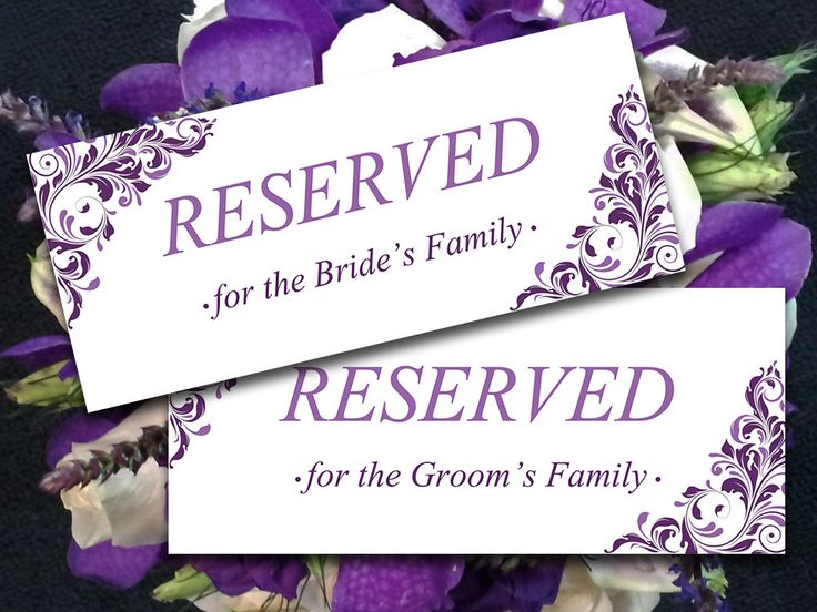 """Printable Wedding Reserved Card Template - Instant Download Reserved Seating Sign """"Jenna"""" Eggplant Lavender Reserved Seating - DIY Wedding by PaintTheDayDesigns on Etsy"""