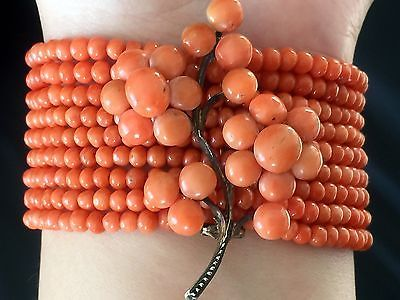 34.9 gram antique victorian natural salmon coral beads coral necklace and pin