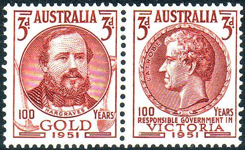 Australia 1951 Gold Centerary SG 245a Tennant Pair Fine Mint SG 245a Scott 245a Other Australian Stamps HERE