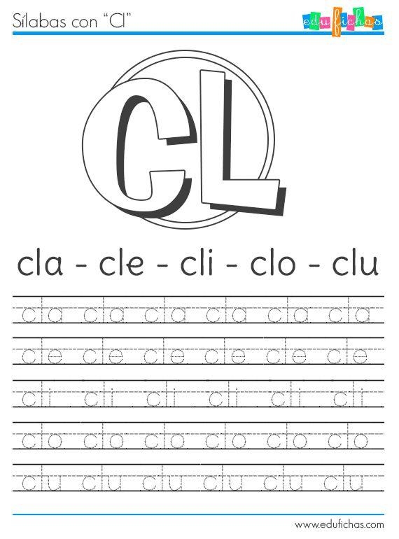 Aprender las sílabas con C. Fichas de caligrafía para aprender las sílabas con la letra C: ca, ce, ci, co, cu., y sus combinaciones con las letras R y L.