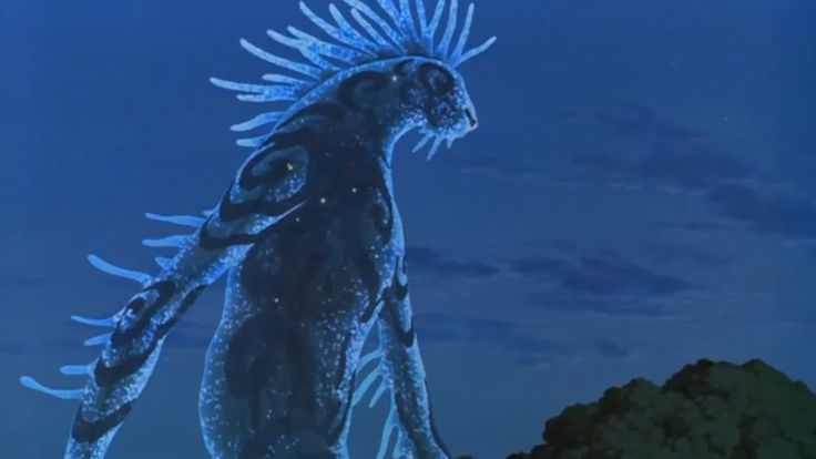 "A scene capture in the film Princess Mononoke. The image is of a forest spirit described as the ""god of life and death"" which takes the form of a deer during the day, and a giant shadowy night walker during the night which you see in this image. In Japanese Mythology, this giant creature is an interpretation of a ""Daidarabotchi"" - a giant yokai in Japanese Folklore."