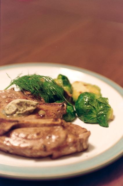 Nordic Flavor Inspiration: Pan-grilled Lamb Chops with Anchovy-Dill Butter and Brussels Sprouts