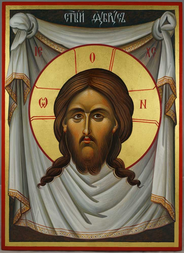 """The Holy Face (Ubrus, Mandylion, """"Not made by human hands"""") - the portrait which Jesus Christ sent to Edessa to cure king Abgar. This is a premium quality icon made with pure 23kt gold leaf. Painted using traditional technique - egg tempera, solid lime wood panel with slats on the back, varnish, 23 karat gold leaf. About our"""